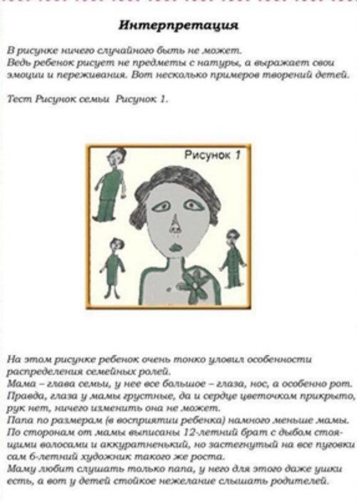 Анализ рисуночного теста ребенка «Рисунок семьи»